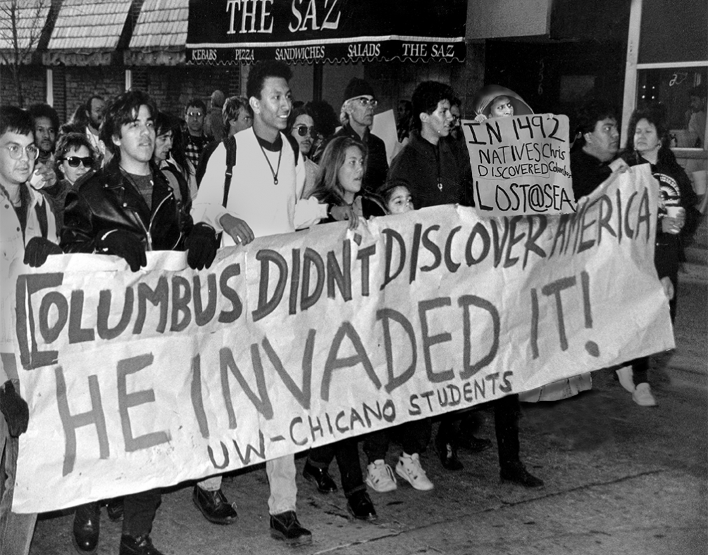people protesting columbus day