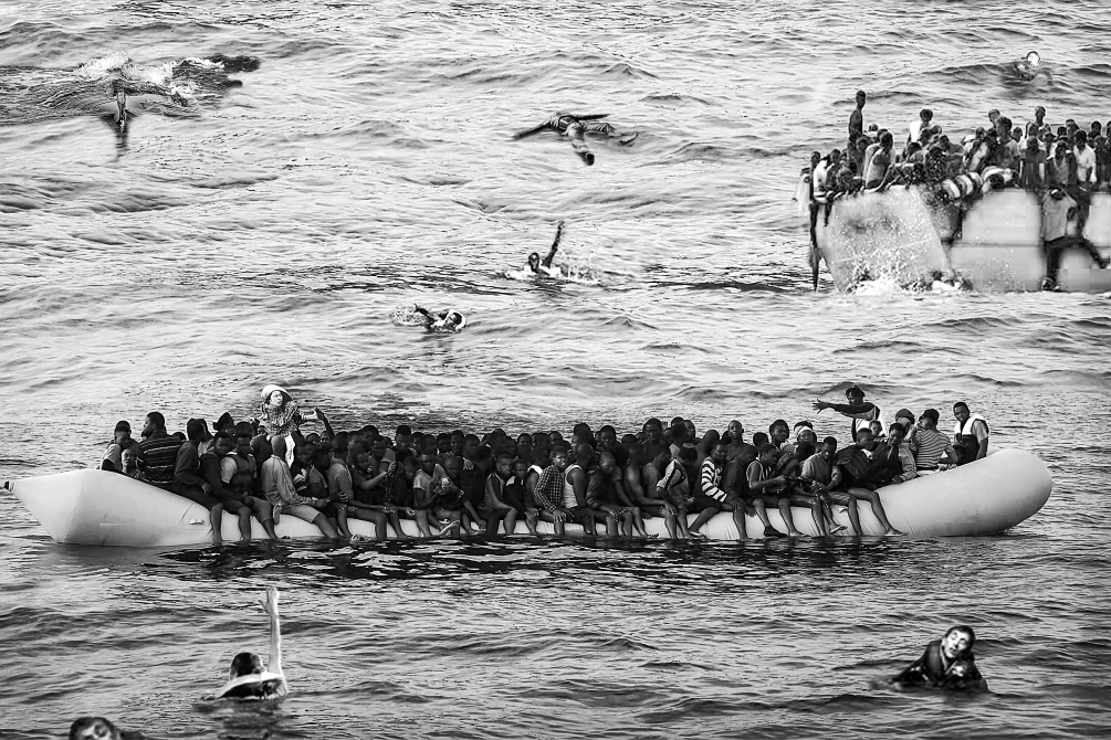 Composite photograph of Boat People in the Mediterranean
