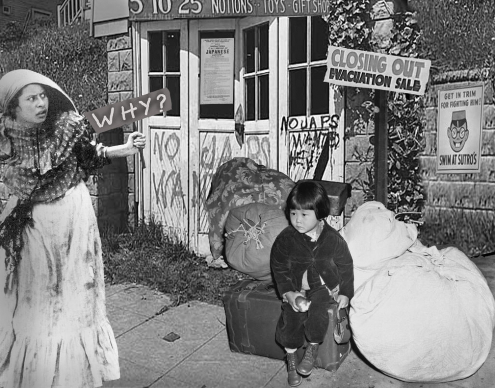 Japanese internment by Executive Order of President Roosevelt to take away all rights to Japanese-Americans.